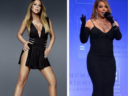 A cantora Mariah Carey na capa de seu novo disco e (à direita) no mês passado.