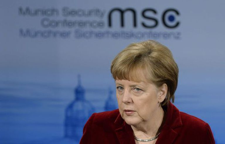 O chanceler Angela Merkel neste sábado, na conferência de Munique.