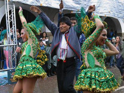 Evo Morales, durante o Carnaval de Oruro.