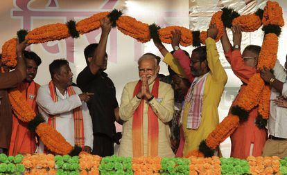 Narendra Modi, durante um ato de campanha.