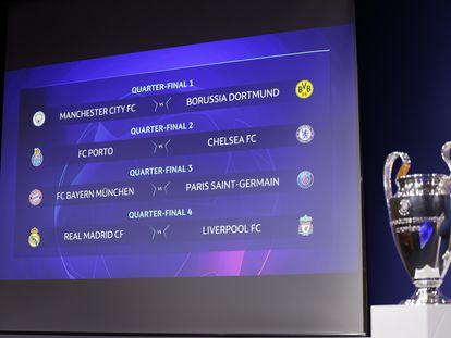 Os confrontos das quartas da Liga dos Campeões.