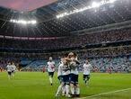 La selección de Argentina celebra un gol en la Copa América de 2019, celebrada en Brasil.