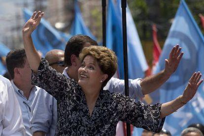 Dilma durante campanha no Rio, nesta segunda.