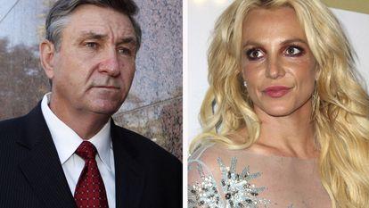 Jamie Spears, o pai da cantora, à esquerda, e Britney Spears à direita.