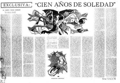 Primeiro capítulo de 'Cem Anos de Solidão' publicado em 'O Espectador', de Bogotá.