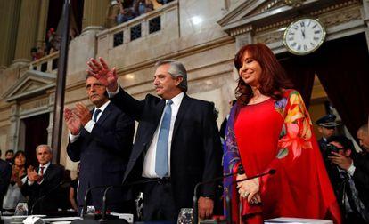 Alberto Fernández e Cristina Kirchner neste domingo, durante a abertura das sessões ordinárias do Congresso.