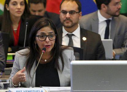 A chanceler da Venezuela, Delcy Rodríguez.