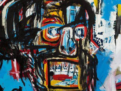 A tela sem título do artista Jean-Michel Basquiat.