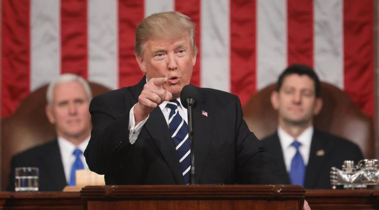 Donald Trump, num momento do discurso