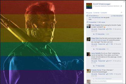 Página de Arnold Schwarzenegger no Facebook.
