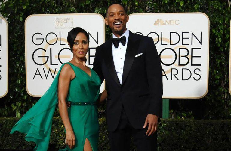 Jada Pinkett e seu marido Will Smith, na entrega dos Globos de Ouro dia 10 de janeiro.