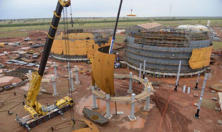 Obra de fábrica de fertilizantes da Petrobras em Três Lagoas.
