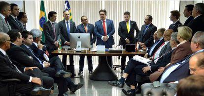 Reunião da bancada do PP, em 2016, quando o partido rompeu com o Governo Dilma.