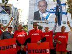 Protesta para pedir la dimisión de Netanyahu, el viernes en Tel Aviv.