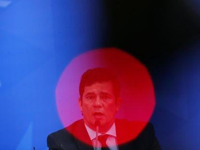 O ministro Moro no dia 13 de abril, em cerimônia no Planalto.