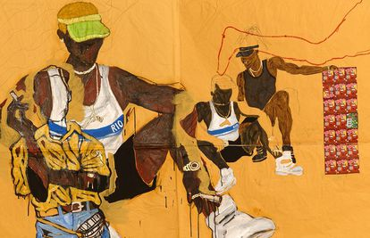 Pintura da série 'Pardo é Papel', do artista Maxwell Alexandre.
