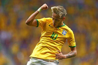 Neymar comemora o segundo gol.