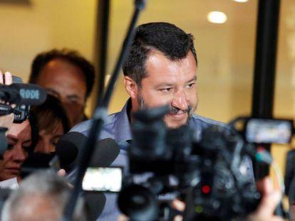 Matteo Salvini, na terça-feira, após encontro com deputados e senadores de seu partido em Roma.