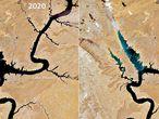 Imágenes por satélite del 17 de abril de 2020 y de 2021 que muestran los efectos de la gran sequía que sufre la cuenca del río Colorado en el lago Powell, en Estados Unidos.