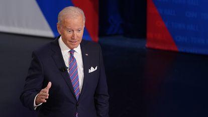 O presidente Joe Biden, durante evento organizado pela CNN nesta quinta-feira, em Baltimore (Maryland).