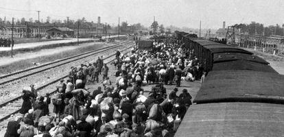 Centenas de judeus descem de um trem no campo de extermínio de Auschwitz-Birkenau