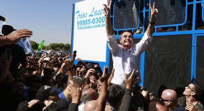 Jair Bolsonaro em atp de campanha no último dia 5.