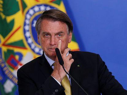 O presidente Jair Bolsonaro durante uma cerimônia no Palácio do Planalto, nesta terça-feira.