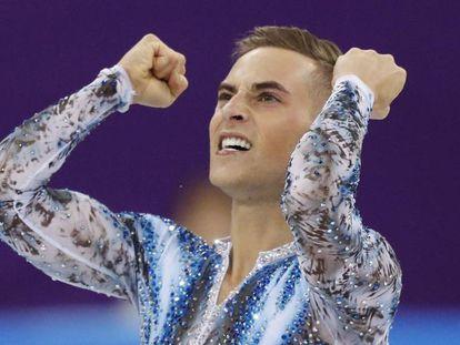 O patinador Adam Rippon durante sua participação nos Jogos de Pyeongchang.