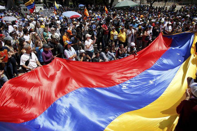 Manifestação da oposição venezuelan neste sábado.