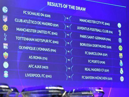 Os confrontos das oitavas de final da Champions.