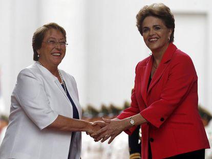 Michelle Bachelet e Dilma Rousseff, nesta sexta-feira