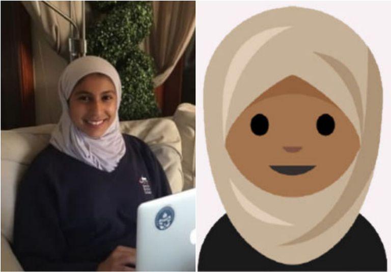 A jovem Rayouf Alhumedhi e um dos desenhos incluídos em sua proposta.