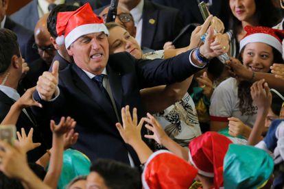 O presidente Bolsonaro participa de cerimônia de Natal no Palácio do Planalto, no dia 19.
