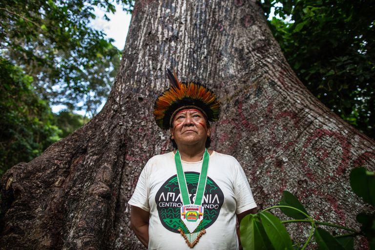 Davi Kopenawa Yanomami no encontro de Lideranças Yanomami e Ye'kuana, realizado entre 20 e 23 de novembro de 2019 na Comunidade Watoriki, na Terra Indígena Yanomami.