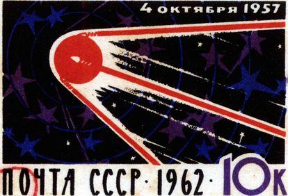 Selo comemorativo da Sputinik 1