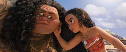 Vaiana encontra a Maui e obriga-lhe a subir a seu barco.