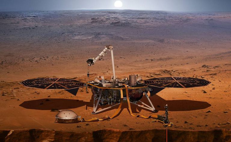 Ilustração da InSight na superfície de Marte.