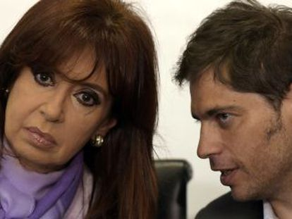 Cristina Kirchner com o ministro da Economia argentino, Axel Kicillof.
