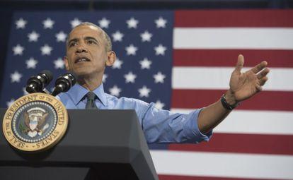 O presidente de EUA, Barak Obama, durante uma intervenção em Detroit.