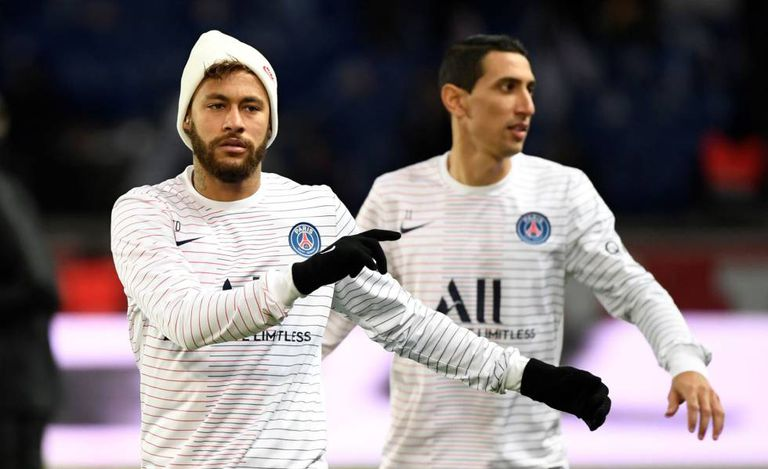 Neymar e Di Maria no treino do PSG.