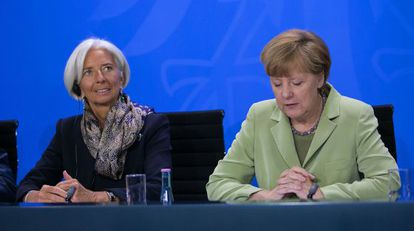 A diretora-gerente do FMI, Christine Lagarde, e a chanceler alemã, Angela Merkel, em maio.