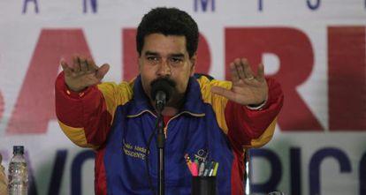 Nicolás Maduro, na segunda-feira em Maracay (Venezuela).