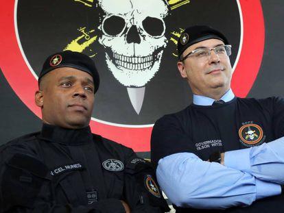O governador Wilson Witzel e o comandante Nunes, do Bope, em janeiro.
