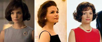Da esquerda para a direita: Katie Holmes, Ginnifer Goodwin e Joanne Whalley interpretam Jack Kennedy.
