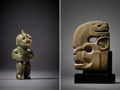 Uma figura olmeca de pedra (esquerda) e uma efígie maia no leilão na casa Sotheby's.