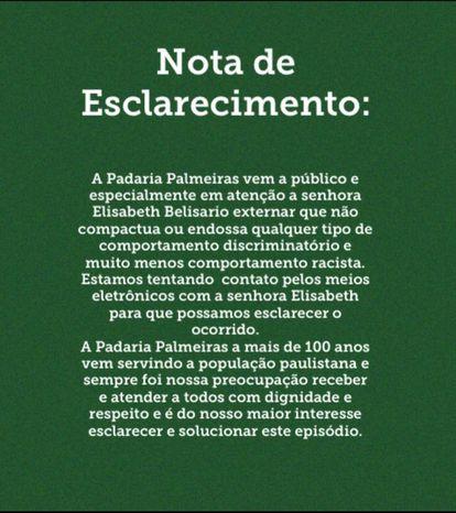 Padaria Palmeiras afirmou, em nota, ter tentado contato com Beth Beli.