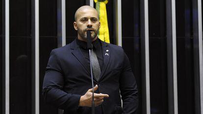 O deputado Daniel Silveira durante discurso em março de 2019, na Câmara.