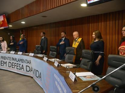 Lançamento da Frente Parlamentar em Defesa da Vida na Alesp, em São Paulo.