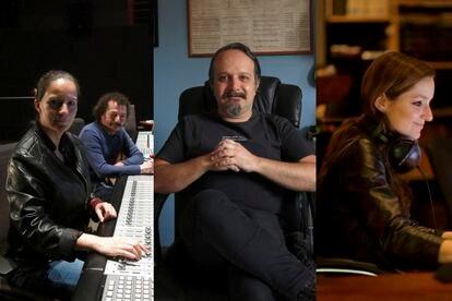 Michelle Couttolenc e Jaime Baksht (à esquerda), Carlos Cortés (centro) e Carolina Santana, responsáveis pela edição de som e mixagem do filme 'O som do silêncio'.