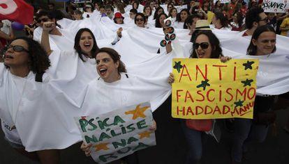 Manifestação em Brasília contra a candidatura de Bolsonaro.